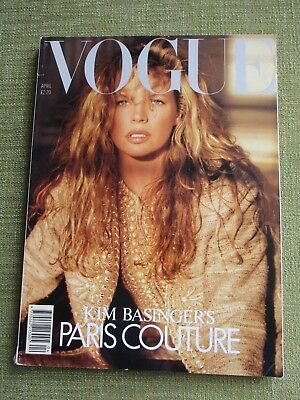 VOGUE magazine April 1989 - Kim Basinger on the cover - 288 pages.