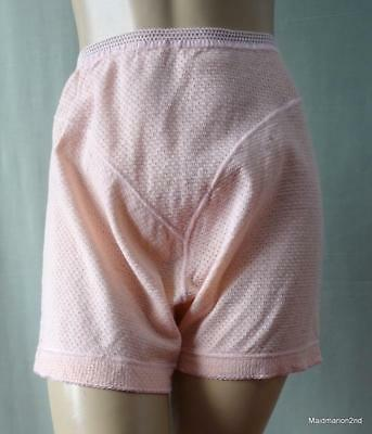 VINTAGE PINK EYELET COTTON FRENCH KNICKERS PANTIES Small UK Wms