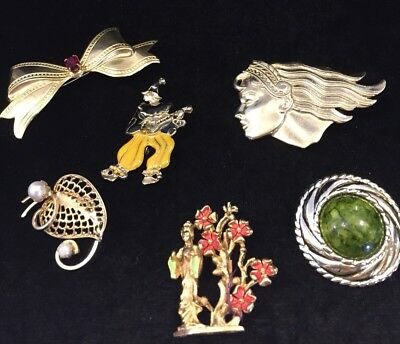 Lot Of Six Vintage Brooches(c356
