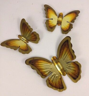 Vintage lot of 3 brass metal butterfly mid century wall decor small medium large
