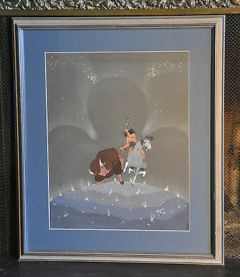 T.  Roanhorse -  Painting Buffalo Hunt Plains Indian On Horseback Night Stars