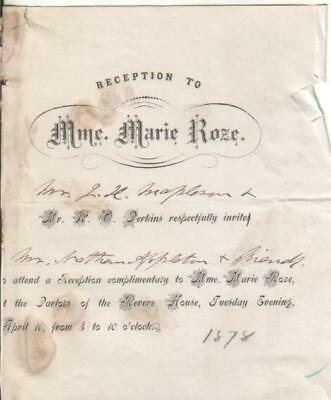 Marie Roze Personal Reception Invitation for 1878 Operatic Performance