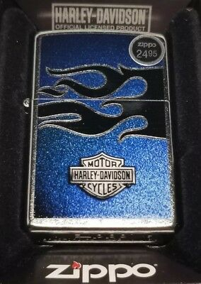 Zippo Harley Davidson 28822 Blue black flames Lighter Logo, motorcycle New