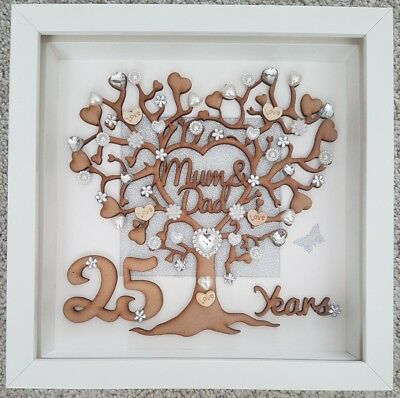 Personalised 25th Wedding Anniversary Gift With Crystals 1999