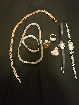 Vintage Bundle Lot Of Costume Jewellery Silver Amber Ring Necklaces Watches.925