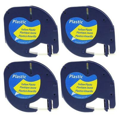 91332 91202 Label Tape Compatible for DYMO LetraTag Yellow Plastic 12mm 4pk