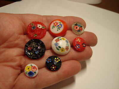 Antique Vintage LOT of 8 COLORED glass FLOWER design buttons