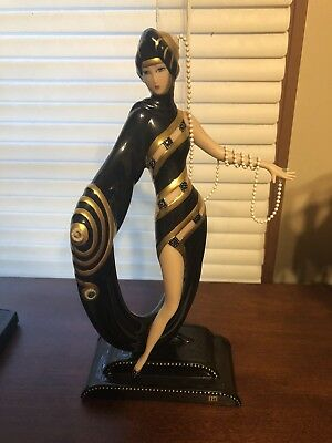 Franklin Mint House of Erte Pearls and Emeralds Figurine Limited Edition