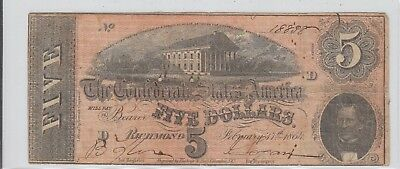 $5 Confederate Currency 1864