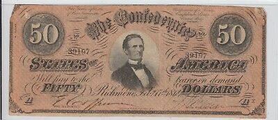 $50 Confederate Currency 1864