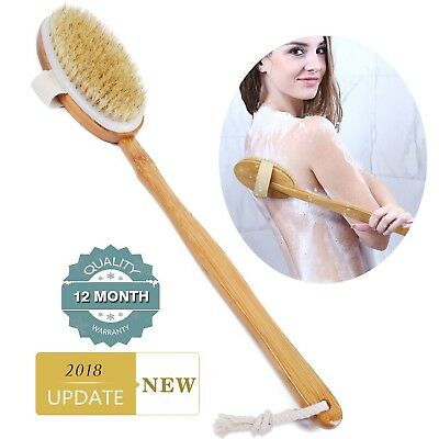 Shower Brush Bath & Dry Skin Body Brushing with Long Bamboo Detachable Hand &...