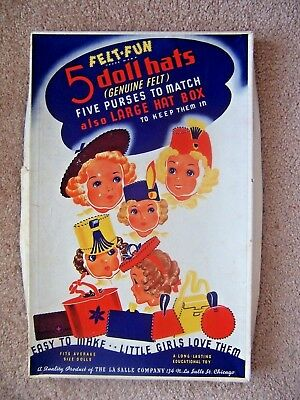 Vintage Original Felt Fun - 5 Doll Hats & 5 Purses  For Average Size Dolls Nice!