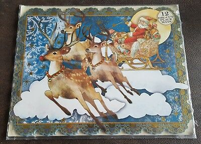 Punch Studio RUDOLPH, REINDEER AND SANTA Die Cut Gold Foil Placemat Set of 12