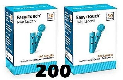200 EASYTOUCH 30G Latex Free PREMIUM Sterile Lancets - 2 Boxes of 100 - NIB