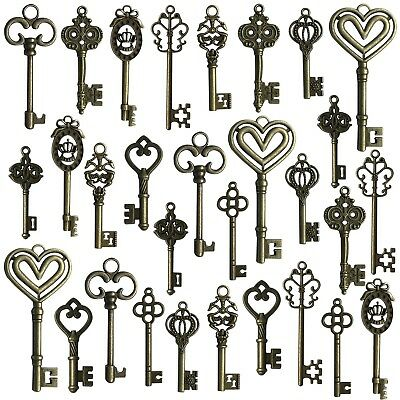 Hibery Mixed Set of 30 Antique Bronze Vintage Skeleton Keys - Decorative Old ...