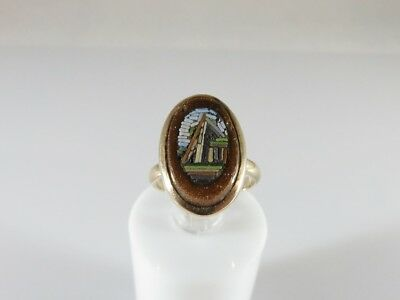 Antique Victorian 9K Yellow Gold Italian Micro Mosaic & Goldstone Ring Size 3.25