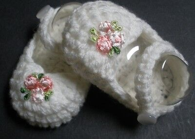White/pink flower Mary Jane booties/shoes/slippers: Dolls Clothes for Baby Born