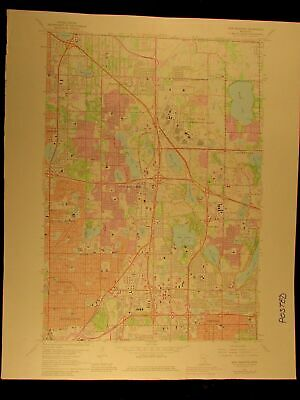 Minnesota Twin Cities Minneapolis 1967-80 New Brighton USGS Topo color chart map