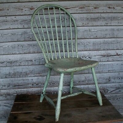 I C Tuttle Signed Bow Back Windsor Chair 1795 1815 Early Paint Patina Salem Mass