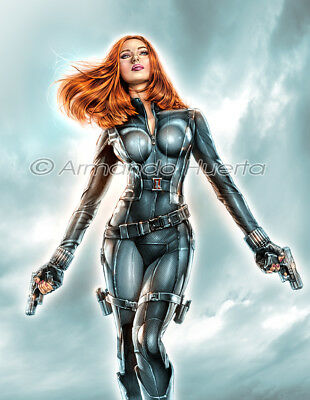Armando Huerta Black Widow Winter Soldier 8.5X11 Print Signed By The Artist!!!