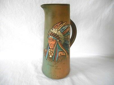 "Weller Pottery Dickens Ware Native Indian Chief ""little Wound"" Tankard Pitcher"