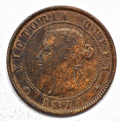 1871 Prince Edward Island Queen Victoria Large Penny *rare Coinage Die Axis*