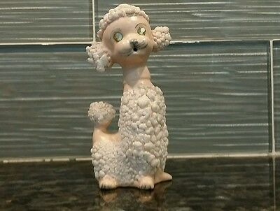 Sweet VINTAGE WHITE POODLE DOG Porcelain Figurine Made in Japan Rhinestone Eyes