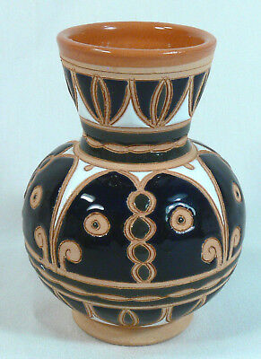 "Nice Hand Made Greek Pottery Vase, Signed, 4 5/8"" Tall, Beautiful Designs"