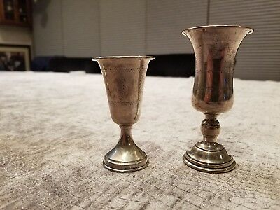 Two Sterling Silver Kiddush Cups American C. 1940. Judaica Antique