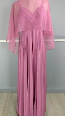Vintage 60s pink pleated spaghetti strapped dress w/ sheer shaw