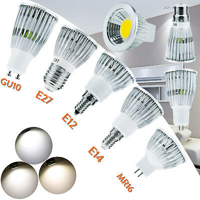 Led Regulable Cob Foco Bombillas 6W 9W 12W MR16 GU10 E27 E14 GU5.3 E12 Lámpara