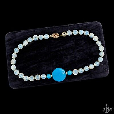 Antique Vintage Deco Sterling Silver Chinese Melon Moonstone Glass Bead Necklace