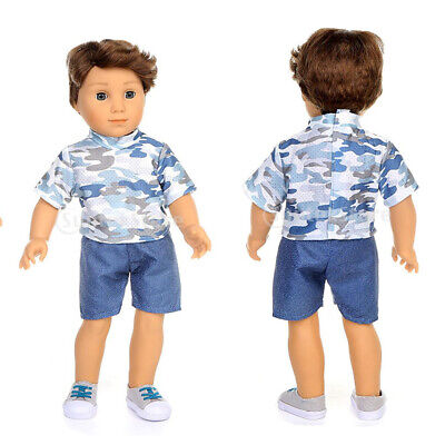 Camouflage T-shirt & Pants Set For American Boy 18inch Doll Outfit Clothes