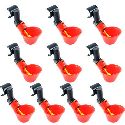 10 Pack Poultry Water Drinking Cups + 1/2 inch PVC Mounting Hardware Waterer US