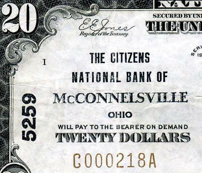 HGR CH#5259 1929 $20 McCONNELSVILLE Ohio (WANTED Bank) VF+ GRADE
