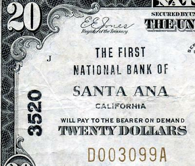 HGR CH#3520 1929 $20 SANTA ANA California ((WANTED Bank)) VF+ GRADE