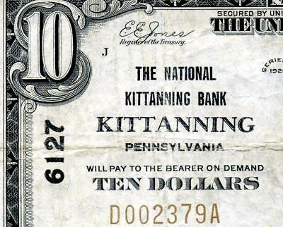HGR CH#6127 1929 $10 KITTANNING Pennsylvania ((WANTED Bank)) VF+ GRADE