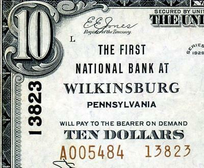 HGR CH#13823 1929 $10 WILKINSBURG Pennsylvania TYPE-2 (WANTED Bank) XF GRADE