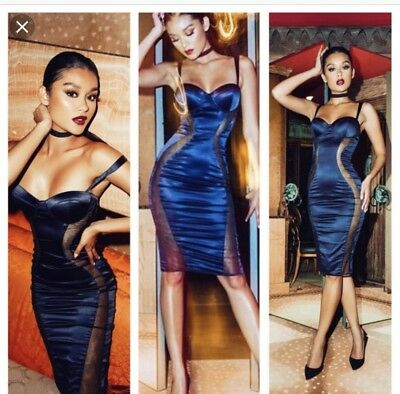House Of Cb Micah Navy Midi SATIN AND MESH BUSTIER DRESs Size M