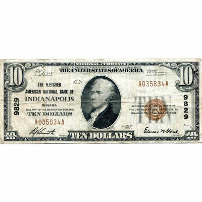 1929 $10 National Bank Note Indianapolis IN Charter #9829 Fine