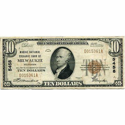 1929 $10 National Bank Note Milwaukee WI Charter #5458 Fine