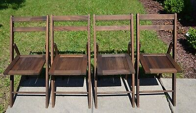 "Set of 4 VTG Wood Folding Chairs ~ Antique Slat Back & Seat ~ 33"" Tall"