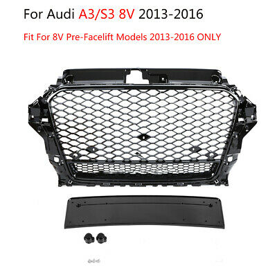 RS3 Quattro Front Sport Honeycomb Hood Grill Gloss Black for Audi A3/S3 8V 13-16
