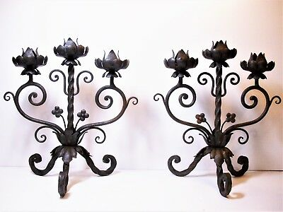 Vintage PAIR MID CENTURY Medieval Spanish Mission Style WROUGHT IRON CANDELABRAS