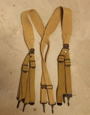 Original WWII US Army M1936 Combat Suspenders 1943 Dated
