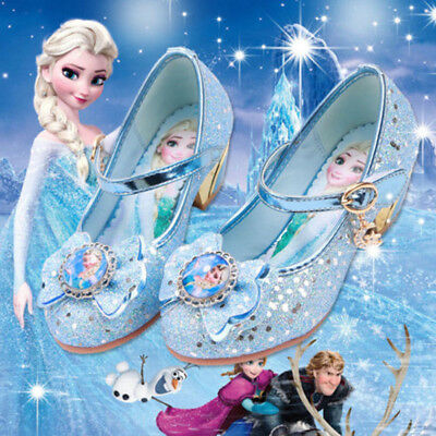 Frozen Shoes Girls High-Heels Party Princess Fancy Flat-Heeled Prom Elsa Dinner