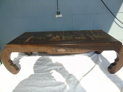 Antique  Chinese Carved Table, Mother of Pearl, Tea, Hard Red Wood, A Drawer