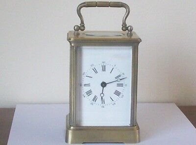 Antique French Brass Carriage Clock  Working Needs Some Restoration