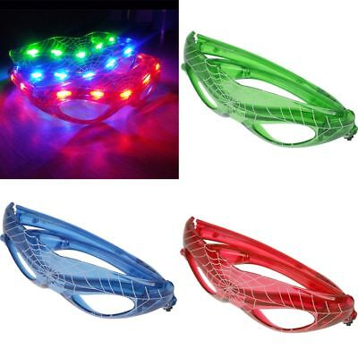 9LED Spider Web Spiderman LED Light Up Glowing Sunglasses Flashing Glasses US