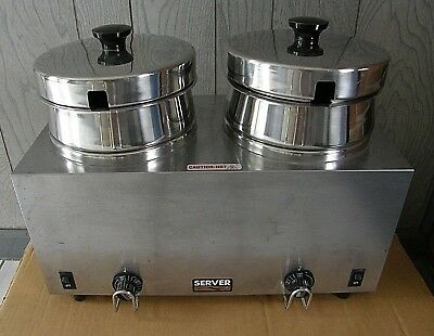 SERVER TWIN FS-4 DOUBLE 4 QT WARMER / COOKER Soup Food Commercial Restaurant